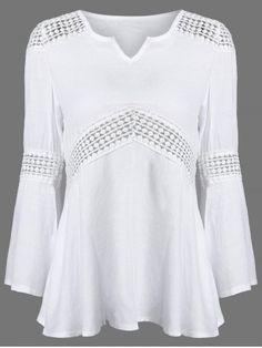 Encaje de empalme blusa de cuello en V