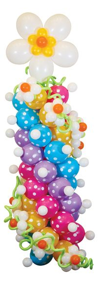 bDecor #390 Polka Dotty Daisy Column - This simple but playful design is full of fun and movement with swirly colors and textured dot LINK-O-LOON® prints. www.betallic.com