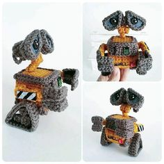 PDF / Crochet Amigurumi Pattern / Wall-e / Pixar / Disney Crochet Gratis, Crochet Patterns Amigurumi, Diy Crochet, Crochet Toys, Crochet Ideas, Crocheting Patterns, Crochet Things, Loom Patterns, Wall E