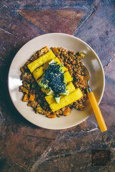 Vegan Lentil Stew with Fried Polenta Sticks, Avocado and Black Sesame Seeds | vegan miam