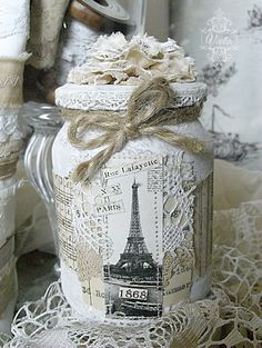 Vintage French-themed altered jam jar, embellished with lace, vintage image, ephemera, fabric and lace flower, twine