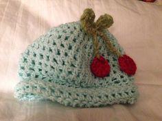 Double crocheted cherry beanie