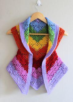 PDF Rainbow Heart Vest Crochet Pattern
