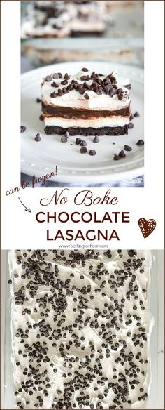 This Easy Chocolate Lasagna No Bake Dessert is so quick to make! It's a decadent, one dish dessert that's perfect for potlucks and dinner parties. I've added chocolate liqueur to the recipe for an extra Easy Potluck Desserts, Delicious Desserts, Dessert Recipes, Easy Dishes For Potluck, Recipes For Potluck, Quick Dessert, Potluck Ideas, Lasagna Recipes, Dinner Ideas