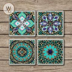 Drink Coasters, Set of Mandala Designs in Aqua Gold and Navy Colors, Ceramic Tiles, Mandala Bar Coasters, Hot and Cold Drinks Drink Coasters Set of 4 Mandala Designs in Aqua Gold and Bar Coasters, Photo Coasters, Ceramic Coasters, Mandala Design, Bridal Shower Wine, Dot Art Painting, Halloween Home Decor, Diy Wedding Favors, Fractals