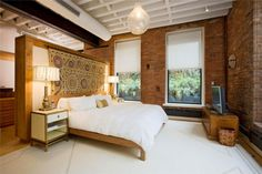 Furniture, Bed With Tall Headboard And 2 Nightstands With 2 Vintage Night Lamps Under White Exposed Ceiling Beams And Surrounded By Brick Wall In Loft Bedroom Furniture Idea: The Application of the Picturesque Loft Furniture For Your House Faux Brick Walls, Exposed Brick Walls, Brick Loft, Bedroom Loft, Home Bedroom, Bedrooms, Loft Spaces, Small Spaces, Loft Apartments