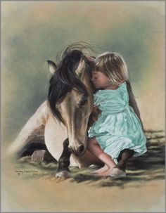 horse hug with little girl . Please also visit www.JustForYouPropheticArt.com for colorful, inspirational art and stories. Thank you so much!