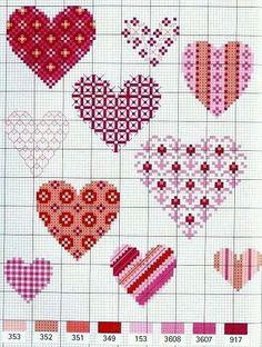 Valentine hearts cross stitch.