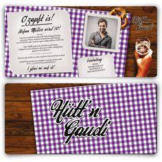 Einladungskarte Hütt'n Gaudi - Lila mit Foto #geburtstag #einladung #geburtstagseinladung #hüttngaudi #lila #foto #birthday #invitation