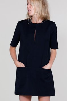 Mod Little Black Dress. Pair with tights, flats, and a bright coat for a cute Winter look. #dress #winterfashion #emersonmade