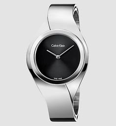 Calvin Klein Women's Silver Stainless Steel Watch with Black Dial Face Stylish Watches, Casual Watches, Luxury Watches, Stainless Steel Jewelry, Stainless Steel Watch, Calvin Klein Femmes, Fendi, Bangle Bracelets, Bracelet Watch