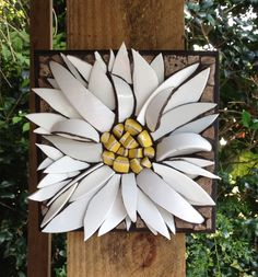 "3D Daisy flower mosaic  8""x8"" By Nikki Murray-Mason, Nikki Inc Mosaics www.nikkiinc.com"