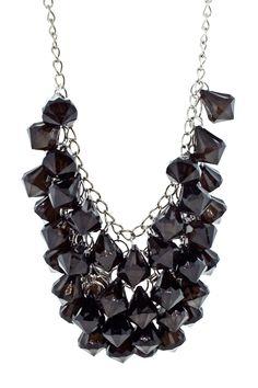 Chandelier Beaded Necklace in Black.