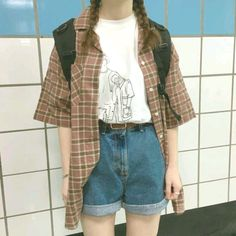 64 Popular Grunge Outfits Ideas For Women That You Need To See Source by clothes ideas Vintage Outfits, Retro Outfits, Cool Outfits, Casual Outfits, Summer Outfits, Flannel Outfits, Black Outfits, 80s Fashion, Korean Fashion