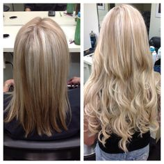 Beautiful before and after of Salon Entrenous Stylist Cassandra's Great Length Extension work!