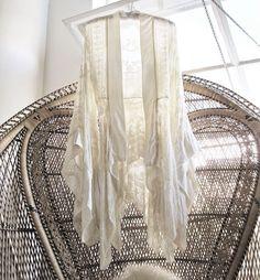 chandelier-type hanging made of vintage hankerchiefs