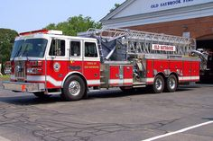 Old Saybrook's Ladder 3-7-1, a 2001 Sutphen 95ft mid mounted tower ladder truck.