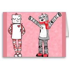 Hand drawn Cute Vintage Robots Valentine's Day Card #robots #valentines #love #zazzle #artwork