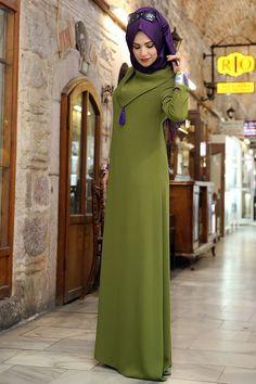 Renklerevi Tesettür Giyim ~ Nilüfer Kamacıoğlu Tesettür Yeşil Abaya Elbise