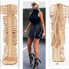 Bcbg Strappy Heel Sandal With Tassel Back Zip