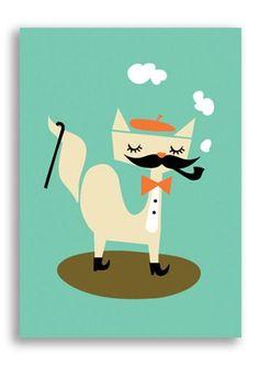 "Postcard ""Posh cat"" | Darling Clementine | www.jollyfish.be"