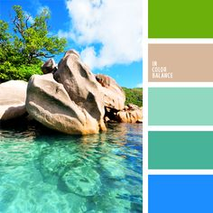 """This palette can be called """"the color of heaven on earth."""" Ideal combination of shades of blue with light green stands for indoor use where the predominant sunny side."""