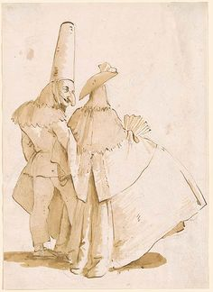 Giovanni Battista Tiepolo | A Punchinello and His Lady | Drawings Online | The Morgan Library & Museum