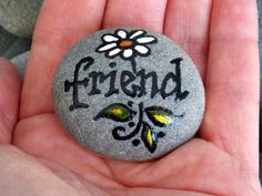 Friend / Painted Rock / Sandi Pike Foundas / Cape Cod Sea Stone via Etsy Pebble Painting, Pebble Art, Stone Painting, Diy Painting, Stone Crafts, Rock Crafts, Arts And Crafts, Rock Painting Ideas Easy, Rock Painting Designs