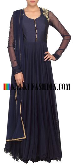 Buy Online from the link below. We ship worldwide (Free Shipping over US$100) http://www.kalkifashion.com/navy-blue-anarkali-suit-adorn-in-zari-and-zardosi-embroidery-only-on-kalki.html