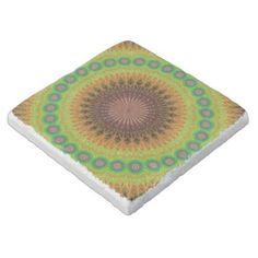 Mandala star circle stone coaster $11.00 *** Abstract floral mandala star circle design - coaster