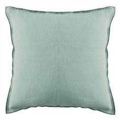 Brera Lino Stitched Trim Celadon Throw Pillow