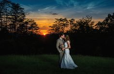 Romantic sunset bride and groom portrait! See more from this purple outdoor wedding in Knoxville at @lilybarn! Pics by @TonyaDamron1, wedding gown by @alfredangelo | The Pink Bride® www.thepinkbride.com