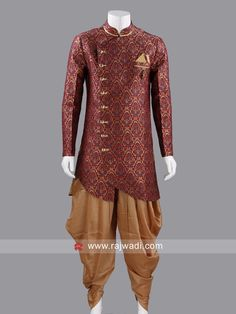 Marvelous Brocade long sleeve Indo Western in Dark maroon color with contrast fancy buttons will create an individual look. Paired with Golden Color Patiala. Fancy Buttons, Wedding Sherwani, Western Look, Patiala, Maroon Color, Wedding Suits, Asian Fashion, Dapper, Menswear