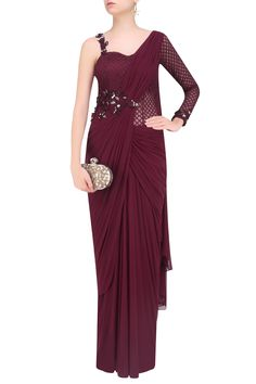 Kamaali couture presents Maroon one sleeves floral embroidered drape saree available only at Pernia's Pop Up Shop. Cute Sporty Outfits, Saree Gown, Sari Dress, Net Saree, Lehenga Choli, Saree Designs Party Wear, Saree Blouse Designs, Indian Designer Outfits, Designer Dresses
