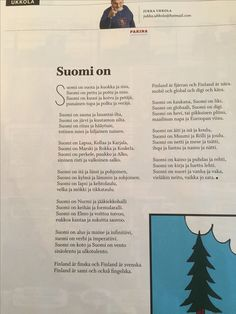 Suomen kuvalehti 13.4.17 Jukka Ukkolan runo.  Ehkä jättäisin yhden säkeen pois. Finnish Words, Year Of Independence, Lofoten, Finland, Fun Facts, Poems, Nostalgia, Teaching, School