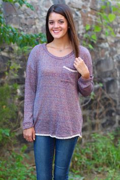 Fall Into Me Sweater {Purple} - The Fair Lady Boutique - 1