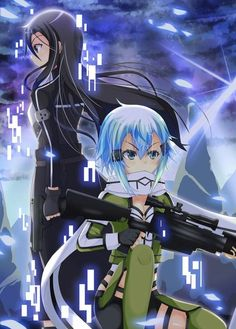 Asada Shino and Kirigaya Kazuto Gun Gale Online, Online Anime, Online Art, Dragon Ball, Sinon Sao, Asada Shino, Sword Art Online Kirito, Anime Family, Cosplay