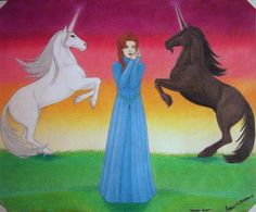 """""""Heaven Sent"""" by Angela K. Scott. ~Color Pencils (some comp. enhancement). ---- Art, Illustration, Drawing, Medieval Maid, Girl, Unicorns, Black Unicorn, White Unicorn, Horned Horses, Equine, Rearing, Myth, Medieval Gown, Magical, Folklore, Legend, Maiden, Innocence, Mythical, Imagination, Purity, Beauty, Grace, Nobility, Middle Ages, Light and Dark, Realism, Realistic."""