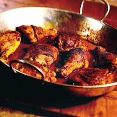 Spicy Baked Chicken spicy oven-baked chicken Recipe from A paste of lemon juice and spices rubbed under the skin of the chicken infuses the meat with flavor for this easy dinner. Indian Food Recipes, Great Recipes, Dinner Recipes, Favorite Recipes, Dinner Entrees, Entree Recipes, Spicy Baked Chicken, Baked Food, Healthy Chicken
