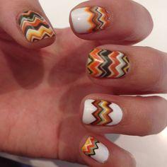Thanksgivukkah Nail Tutorial! found on Polyvore featuring nails, makeup, nail art, beauty and nail polish