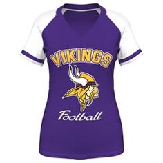 1f2e272d7bb Minnesota Vikings womens purple Go for Two IV v-neck t-shirt by Majestic  has white sleeves and screen printing on the front.