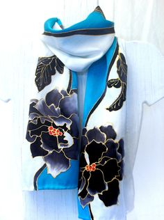Hand Painted Silk Scarf Black Peonies Blue SIlk Scarf. Handmade Silk Scarf. Silk Charmeuse Scarf. French Silk Dye. 8x52 in.. $74.50, via Etsy.