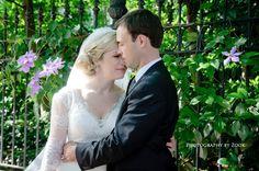 bride groom unique outdoor garden wedding close up