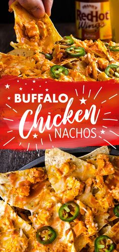 Chicken, cheese, tortilla chips and Frank's RedHot - you're only 4 ingredients away from the best nachos ever! Frank's RedHot Buffalo Chicken Nachos are ready in 10 and make for the perfect spicy summer snack or game day app. Pollo Buffalo, Buffalo Chicken Nachos, Buffalo Chicken Casserole, Chicken Nachos Recipe, Chicken Recipes, Chicken Ideas, Comida Tex Mex, Appetizer Recipes, Appetizers