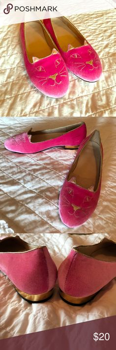 Comfity brand pink kitty flats These shoes were worn once for a wedding.  Great condition; very minimal wear.  These are dupes of the Charlotte Olympia Kitty flats (which go for $495.) Comfity Shoes Flats & Loafers