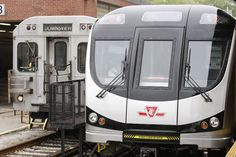 Out with the old, in with the new -- pic shows an outgoing Toronto Transit Commission (TTC) subway on the left, to the new train replacing it on the right.