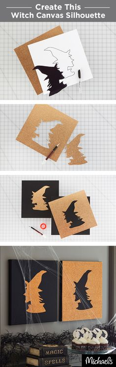 Decorate your home for Halloween with a simple witch silhouette art piece. Get the template for the witch on Michaels.com. Trace the witch silhouette onto glittered scrapbook paper and cut out with an X-ACTO® knife. Be sure to leave the excess paper intact since you will be using it for the other canvas. Glue your silhouette and inverse shape to black canvas and your project is complete!  Find all of the supplies you need for this project at your local Michaels store.