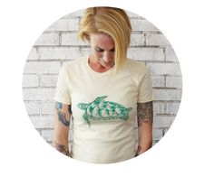 Ladies Sea Turtle TSHIRT Graphic Tee Shirt Ocean by CausticThreads