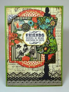 "5"" x 7"" Friends card using Graphic 45's Couture papers and Hampton Art stamps."