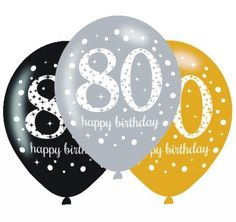 BALLOONS LATEX - 80TH SPARKLING ASSORTMENT - PACK 24